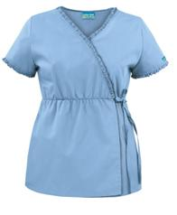 WTS73C UA Butter-Soft Ruffle Trim Empire Mock Wrap Scrub Top