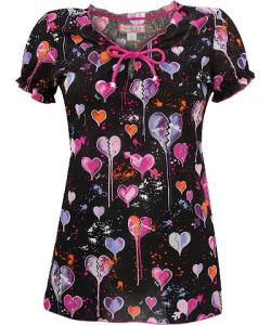 K129HRB Koi Scrubs Heart Breakers Print Top