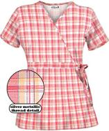 U28PAP UA Women's Plaid Party Peach Print Mock Wrap Scrub Top