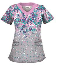 UA194PDG UA Women's Petal Perfect Dolphin Grey Scallop Neck Scrub Top