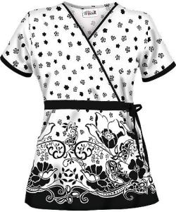 U28FLF UA Women's Floaty Flower Mock Wrap Scrub Top