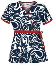 UA28SWN UA Women's Swirl Navy Mock Wrap Scrub Top