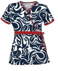 UA28SWN UA Women's Swirl Navy Mock Wrap Scrub Top