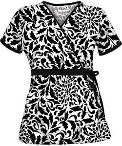 UA28ATT UA Women's Opposites Attract Black Mock Wrap Scrub Top
