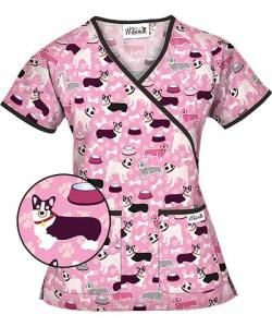 WT68BSP Happy Scrubs Best In Show Mock Wrap Scrub Top