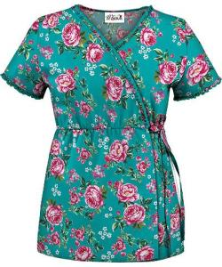 WT73BED UA Women's Bed of Roses Ruffle Empire Mock Wrap Scrub Top