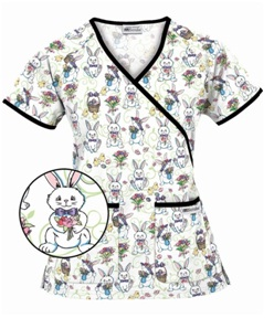 Style #  H68FUN ~ UA Women's Easter Fun Mock Wrap Scrub Top