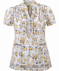 Healing Hands Rose Garden Yellow/Pewter Scrub Top ~ HE201RGY