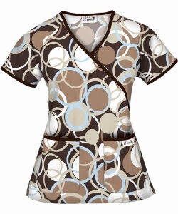 UA Circle Game Coffee Mock Wrap Scrub Top ~ WT66CGC