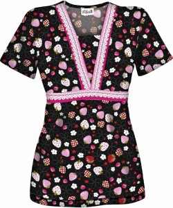 U55BSW Berry Sweet Empire Waist Scrub Top