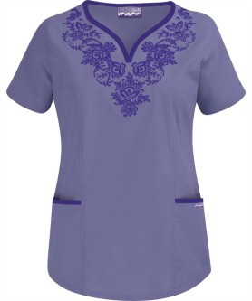 EMPC72C Princess Seam Y-Neck Top with Embroidery
