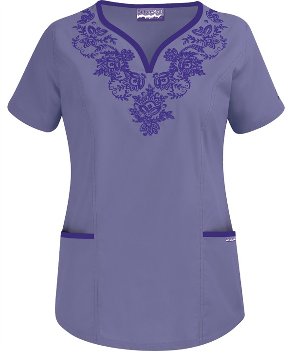 EMPC72C Princess Seam Y-Neck Top with Embroidery