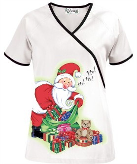 H662SGI Santa's Gift Mock Wrap Scrub Top