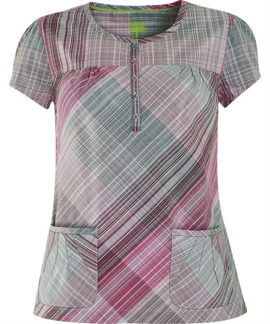HE232PER Lauren Top in Pencil Plaid Raspberry/Pewter