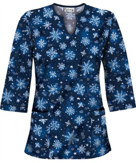 HU50SNR Snowflake Art Royal 3/4 Sleeve V-Neck Scrub Top
