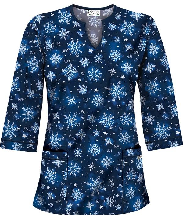 HU50SNR Snowflake Art Royal 3/4 Sleeve V-Neck Scrub Top