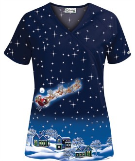 HU662TNC Twas The Night Before Christmas Print Scrub Top