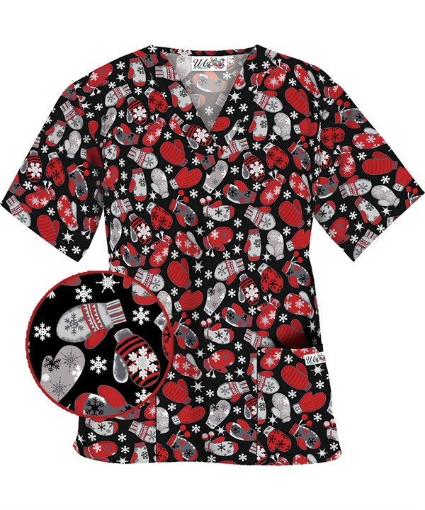HU6SMB Smitten with Mittens Black Print Scrub Top