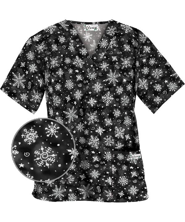HU6SNB Snowflake Art Black Print Scrub Top
