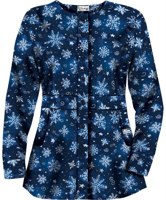 HU86SNR Snowflake Art Royal Button Front Scrub Jacket