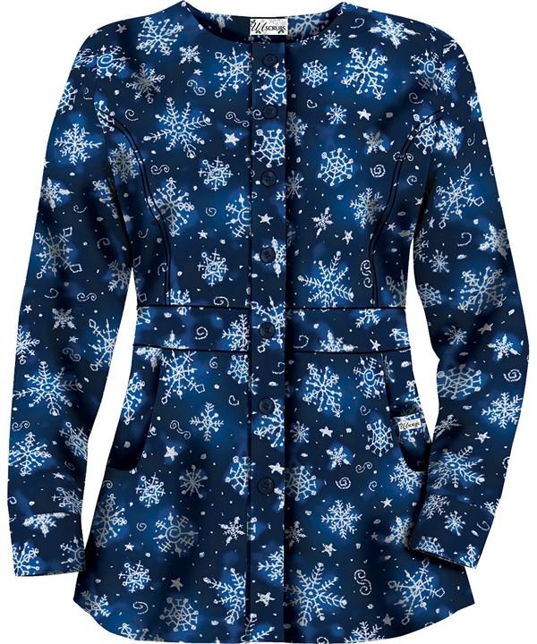 HU86SNR Snowflake Art Royal Button Front Scrub Jacket