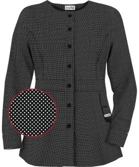 U86PKB Button Front Warm Up Jacket in Polka Pop Black
