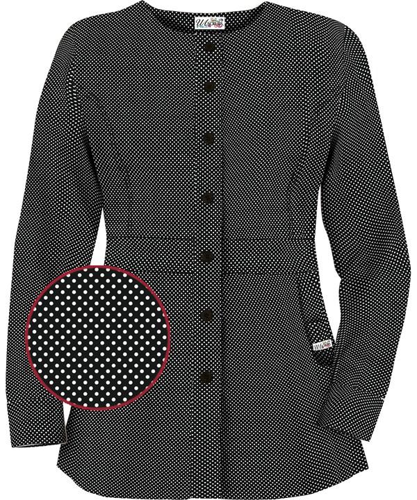 U86PKB Button Front Warm Up Jacket in Polka Pop Black