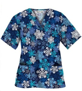 UA Winter Snowfall Navy Print Scrub Top