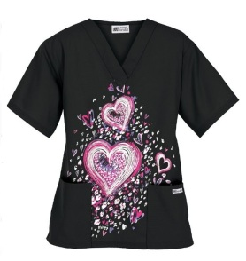 HU6EDH Edgy Heart Print Scrub Top