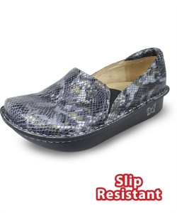 DEB731 Alegria Women's Debra Black Multi Snake Leather Slip-On Shoe