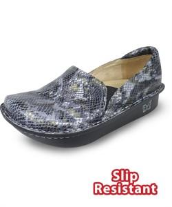 DEB731 Alegria Women's Debra Black Multi Snake Leather Slip-On Shoe