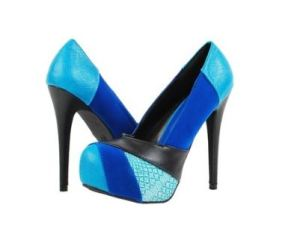 Lady Luxe Yasmine12 Blue Color Block Heels