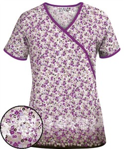 U662SHF Shower of Flowers Coffee Bean Mock Wrap Scrub Top