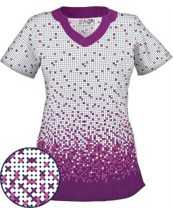 UA195SDB So Dot Berry Burst Print Scrub Top