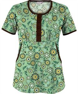 UA537STS Spring Time Splash Willow Round Neck Scrub Top