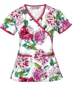 WT68POW Poetic Play White Mock Wrap Scrub Top