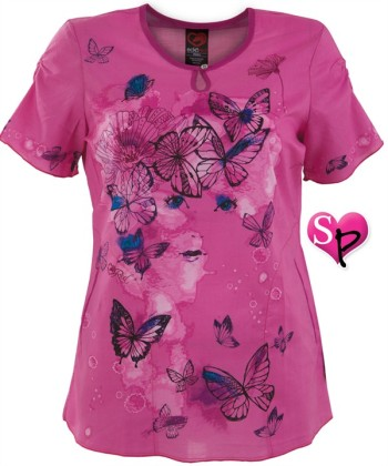 E2107MDM Ecko Red Scrubs Midnight Dream Print Top