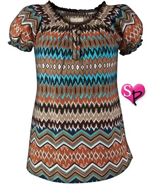 HE296WDC Healing Hands Scrubs Winding Road Terracotta/Chocolate Madeline Top