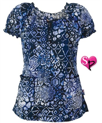 P4172BLE Peaches Scrubs Blue Escape Print Top