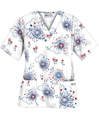 PC62BOS UA Women's Blast of Stars Print Scrub Top