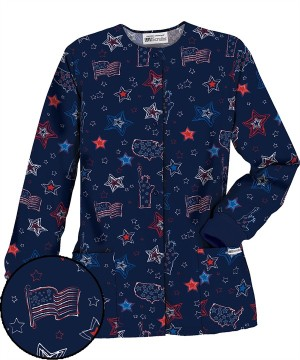 U8NDE UA Women's Independence Day Print Scrub Jacket $7.99
