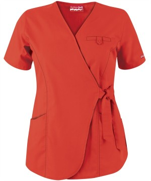 UA632C Butter-Soft Scrubs by UA 3-Pocket Wrap Top in Pumpkin