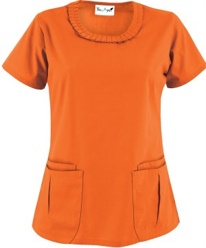 YA364C You, Aye Scrubs Pleat Collar Four Pocket Top in Orange Burst