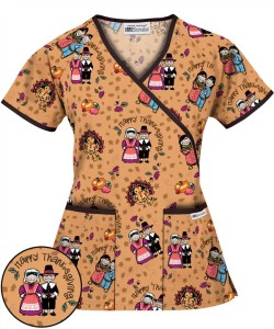 H668GFH UA Giving with Friends Honey Mock Wrap Scrub Top