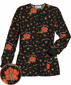 HU834GIT UA Give Thanks Print Scrub Jacket