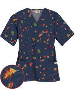 U6AAN UA Women's Adoring Autumn Navy Print Scrub Top