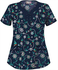 UA Scrubs Sail Away Navy Y-Neck