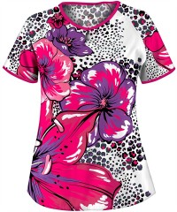 UA Scrubs Tropically Fabulous Divalicious Print Scrub Top