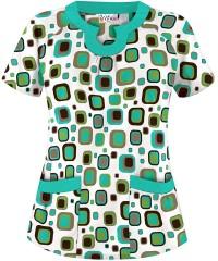 UA Scrubs Funky Geo Mojito Print Scrub Top