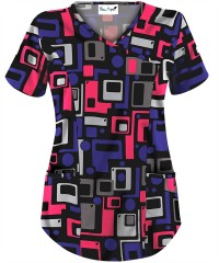 You, Aye ™ Scrubs Squared Love Black Mock Wrap Print Top